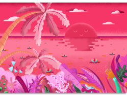 Pink Sunset Illustration