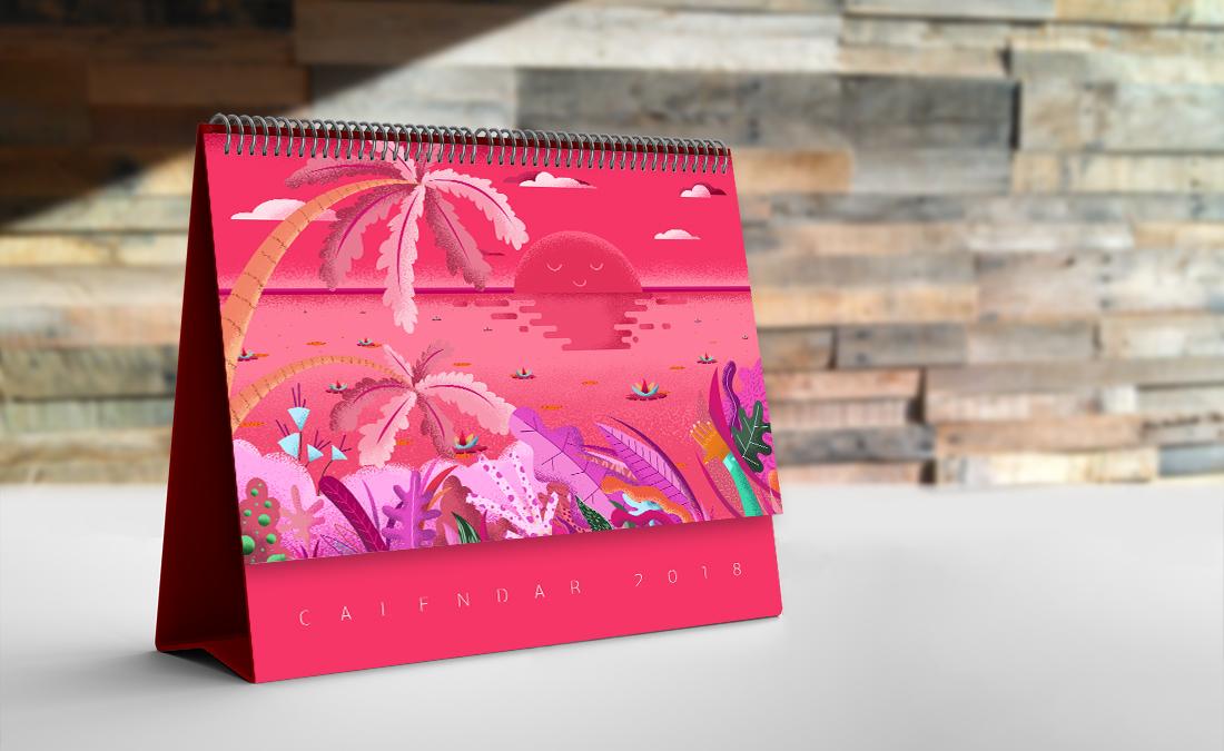 Pink Sunset Illustration